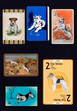 WIRE FOX TERRIER MOUNTED COLLECTION OF VINTAGE DOG PLAYING CARDS GREAT GIFT