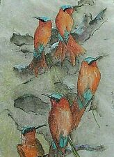 Debbi Chan Watercolor on Silk With Embroidered  Wonderful Birds  unframed