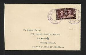 TRISTAN DA CUNHA 1936 COVER franked GB 1½d type VII cachet in violet. To USA.