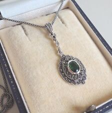 Sterling Silver Emerald Marcasite Pendant Necklace