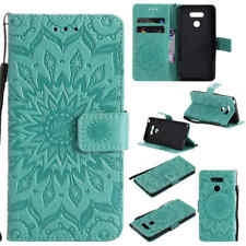 For LG G5 Sunflower Leather Flip Wallet Card Slot Smart Stand Case Cover Green