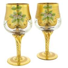 GlassOfVenice Set of Two Murano Glass Wine Glasses 24K Gold Leaf - Transparent