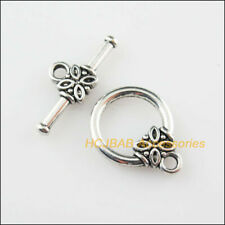 8Sets Tibetan Silver Flower Round Circle Bracelet Toggle Clasps Connectors