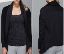 Lululemon Cabin Yogi Wrap Cardigan Sweater Black Gray Hooded Reversible 6 Or 8