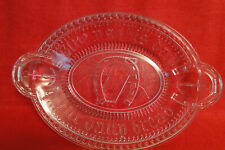 "Vintage Clear Glass ""Give Us This Day Our Daily Bread"" Horseshoe Handles & Ancho"