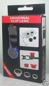Universal 3 in 1 Clip-On FishEye Wide-Angle Marco Camera Lens(Blue)