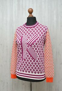 "KENZO Womens Multicolor Wool Blend Big Logo ""K"" Sweater Deep Fuschia Size M"
