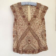 Aftershock beige silk chiffon, brown beaded & embroidered sleeveless top size M