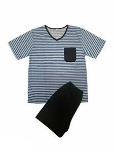 Men's Shorty Pajamas Sleeve With T Shirt V-Neck Size M L XL XXL 3XL 4XL 5XL