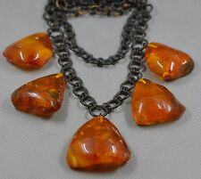 68.5 gr Genuine natural antique amber handmade necklace pendant