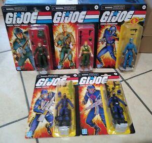"Lot of 5 G.I. Joe 3 3/4"" (2020) Hasbro action figures Cobra Commander Duke Grunt"