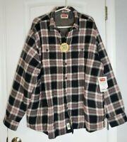 Wrangler Fleece Lined Black Gray Plaid Flannel Shirt Jacket XL Men Sherpa NWT