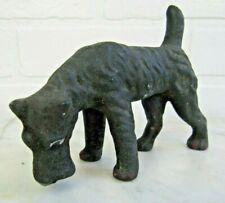 "Vintage Dog Figurine Airedale Terrier 5 X 4 "" Black ceramic Textured"