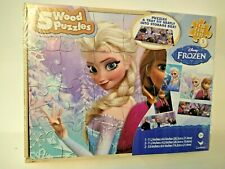 Disney Frozen: 5 Wood Puzzles In Wooden Storage Tray Box * New & Sealed!