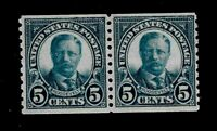 US 1923 Sc 602 5 c T. Roosevelt Coil Pair VF Mint NH - Crisp Color