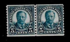 US 1923 Sc 602 5 c T. Roosevelt Coil Pair VF Mint NH - Crisp Color