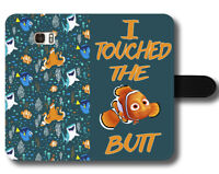 Nemo Disney Quote 'I Touched The Boat' Finding Dory Magnetic Leather Phone Cover
