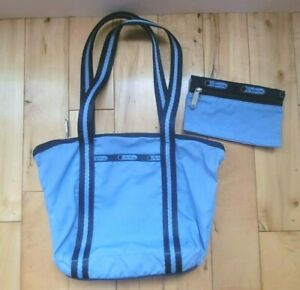 LeSportSac Zipper Tote Shoulder bag with small pouch Blue Double Strap