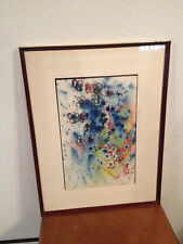 Vintage Mid Century 1969 Signed Ink & Watercolor Painting of Flowers