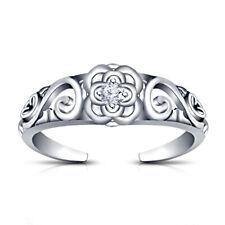 Toe Ring In 14K White Gold Finish 0.05 Ct White Diamond Little Flower Adjustable