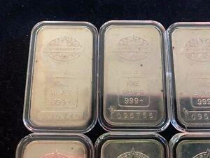 Lot of ( 6 ) Engelhard Canada 1 oz Silver Bars .999 fine RARE
