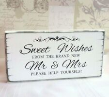 Wedding Sweet Table Sign Sweet Wishes Free Standing Shabby Vintage Table Decor