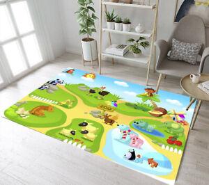 Cartoon Zoo Cute Animals Livingroom Bedroom Floor Mat Kids Play Area Rugs Carpet