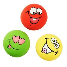 """3 Pack Latex Dog Puppy Squeaker Toy SMALL Squeaky Funny Face DISC Balls 2.2"""""""