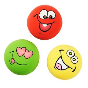 3 Pack Latex Dog Puppy Squeaker Toy SMALL Squeaky Funny Face DISC Balls 2.2""