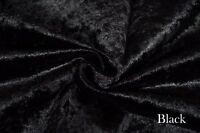 BLACK LUXURY VELOUR CRUSHED VELVET FABRIC UPHOLSTERY CURTAIN OTTOMAN