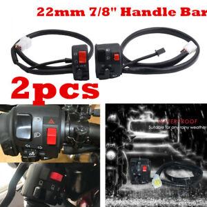 2x 22mm Motorcycle Handlebar Horn Turn Signal Light Start Switch Waterproof