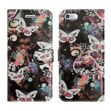 Leather Luxury Wallet Book Flip Phone Protect Case for Apple iPhone 6 6s Swirling Butterfly - Pattern Pretty Paisley Beauty