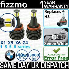 FIZZMO BMW H8 48w COB LED ANGEL EYE HALO RING LIGHT BULB XENON WHITE ERROR FREE