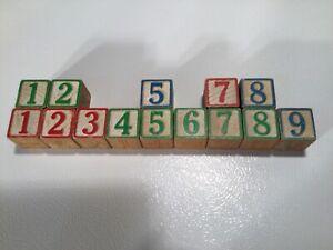 Vintage 14 Colorful Wooden Number Blocks