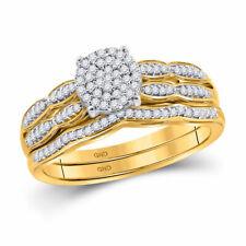 10kt Yellow Gold Womens Round Diamond Cluster Bridal Wedding Ring Set 1/4 Cttw