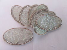 Set of 10 Handmade Christmas Card Embroidered Tree Oval Patches Badges #7F19