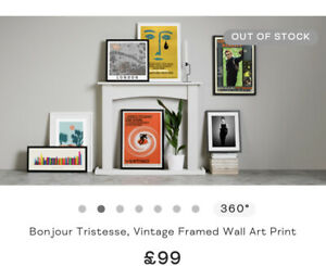 Sold out RRP£99 made.com Bonjour Tristesse, Vintage Framed Wall Art Print