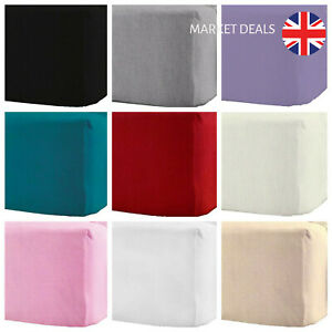 """100% Brushed Cotton Flannelette 40CM/16"""" Extra Deep Fitted Sheets** NEW"""