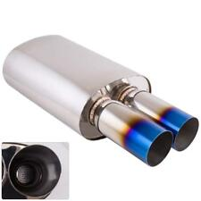 """Universal 3"""" Dual Burnt Flat Tip 2.5"""" Inlet Stainless Weld-On Exhaust Muffler"""