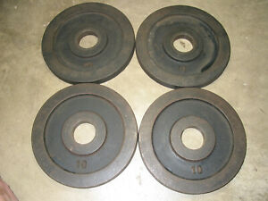 Vintage York Olympic Barbell Plates---10 lb Weight---Lot Of Four--My Last Plates