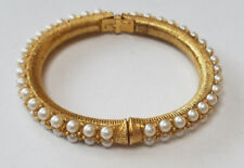 Pearl Gold Tone Fashion Bangle Bracelet Flip Open Hinge 2 7/8'' Lady Girl New