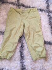 Ann Taylor Womens Size 4P Green Yellow Cotton Capri Pants Petite Button Zip Fly