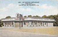 D71/ Birmingham Alabama AL Postcard Linen Lou-Jac Drive-in Restaurant
