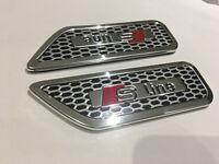 Sline Emblem Alloy Side badge Sticker for Audi A1 A3 A4 A5 A6 Q3 Q5 Q7 Sline
