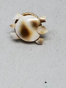 Real Shell Tiny Carved White and brown Turtle Tac Pin