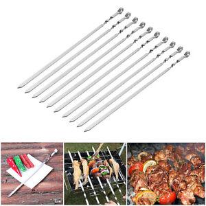 10 pcs Flat Twist Metal  Stainless Steel Grilling Skewers BBQ Skewers Sticks UK
