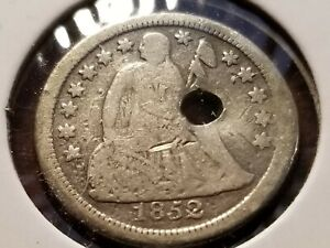1852 O Seated Liberty Silver Dime, holed      INV04     DL439
