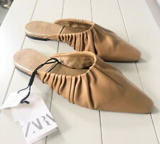 Ladies Zara Flat Camel Leather Gathered Mules With Square Toe UK6 BNWT RRP£55.99