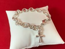 James Avery RETIRED Sterling Silver Classic Cable Bracelet with St. Teresa Cross