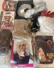 Box of Random New and Used Costume Wigs Cosplay  Blonde Brunette Afro Cruella